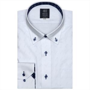 Disney ディズニー / ワイシャツ 長袖 形態安定 ドゥエボットーニ ボタンダウン サックス×小紋、ミッキーシェイプ織柄 標準体|shirt