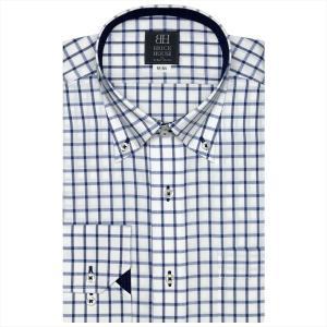 ワイシャツ 長袖 形態安定 ドゥエボットーニ ボタンダウン 白×ネイビー、ブルーチェック 標準体|shirt