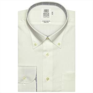 ワイシャツ 長袖 形態安定 ボタンダウン 綿100% クリームイエロー×ストライプ織柄 スリム|shirt
