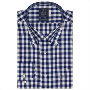 ワイシャツ 長袖 形態安定 ボタンダウン 綿100% 白×ネイビーチェック 標準体|shirt