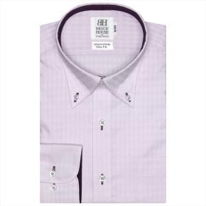 ワイシャツ 長袖 形態安定 ボタンダウン 綿100% パープル×ダイヤチェック織柄 スリム|shirt