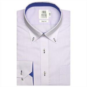 ワイシャツ 長袖 形態安定 ドゥエボットーニ ボタンダウン パープル×斜めストライプ織柄 スリム|shirt