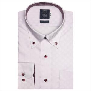 ワイシャツ 長袖 形態安定 ボタンダウン 綿100% パープル×市松格子織柄 標準体|shirt