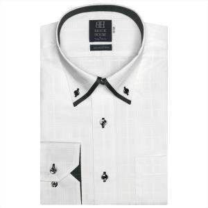 ワイシャツ 長袖 形態安定 マイター ドゥエボットーニ ボタンダウン 綿100% 白×チェック織柄 標準体|shirt