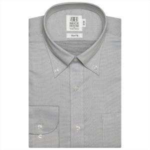ワイシャツ 長袖 形態安定 ボタンダウン グレー×織柄 スリム|shirt