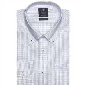 ワイシャツ 長袖 形態安定 ボタンダウン 綿100% 白×ブルー、サックスチェック 標準体|shirt