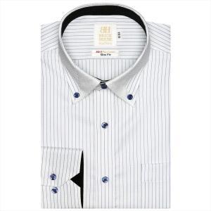 ワイシャツ 長袖 形態安定 マイター ドゥエボットーニ ボタンダウン 綿100% 白×ブルーストライプ スリム|shirt