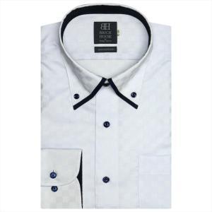 ワイシャツ 長袖 形態安定 マイター ボタンダウン 綿100% サックス×市松格子織柄 標準体|shirt