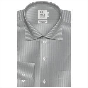 ワイシャツ 長袖 形態安定 ワイド 綿100% グレー×白ストライプ スリム|shirt