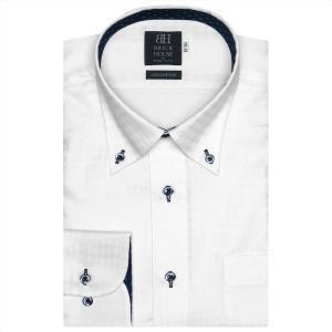 ワイシャツ 長袖 形態安定 ボタンダウン 綿100% 白×チェック織柄 標準体|shirt