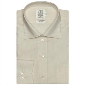 ワイシャツ 長袖 形態安定 ワイド 綿100% ベージュ×白ストライプ スリム|shirt
