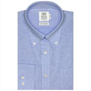 ビズポロ 長袖 形態安定 ニットシャツ ボタンダウン ブルー×無地調 鹿の子 スリム|shirt