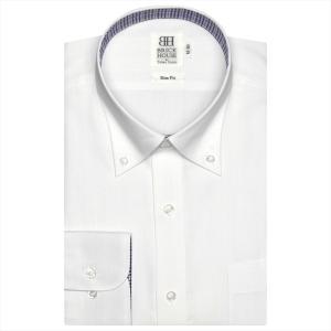 ワイシャツ 長袖 形態安定 ボタンダウン 白×ストライプ織柄(透け防止) スリム|shirt