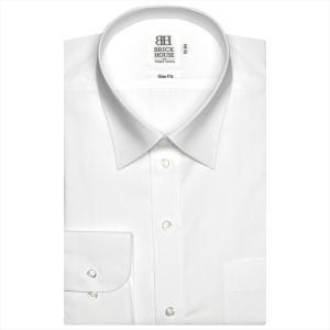 ワイシャツ 長袖 形態安定 レギュラー 白×ボーダーストライプ織柄(透け防止) スリム|shirt
