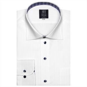 ワイシャツ 長袖 形態安定 ワイド 白×ストライプ織柄(透け防止) 標準体|shirt