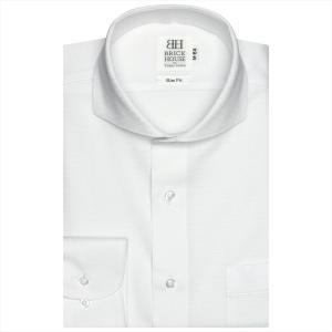 ワイシャツ 長袖 形態安定 ホリゾンタル ワイド 白×ボーダーストライプ、ドット織柄 スリム|shirt