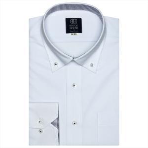 ワイシャツ 長袖 形態安定 ドゥエボットーニ ボタンダウン サックス×バスケットチェック織柄 標準体|shirt