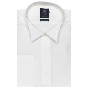 標準体 長袖 ワイシャツ 形態安定 ウイングカラー ウィング シャツ 綿100% ダブルカフス 白無地 要カフリンクス|shirt