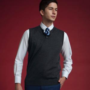 メンズニット キーネック ボタンデザイン ベスト グレー系|shirt