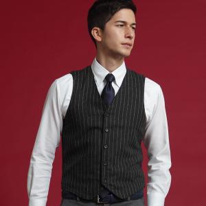 メンズニット 布帛 ドッキング ジレ グレー系 ストライプ柄|shirt