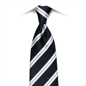 ネクタイ / ビジネス / フォーマル / 日本製ネクタイ 絹100% ネイビー系 ストライプ柄|shirt
