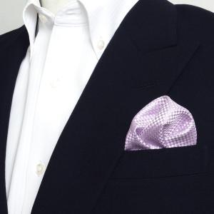ポケットチーフ / ビジネス / フォーマル / 絹100% パープル バスケット織柄|shirt