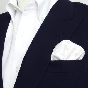 ポケットチーフ / ビジネス / フォーマル / 絹100% ホワイト バスケット織柄|shirt