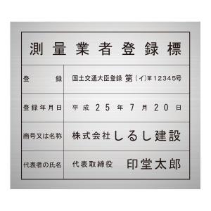 測量業者登録標シルバー調パネルのみ/法定看板 標識 表示看板 安値 事務所用 shirushidou