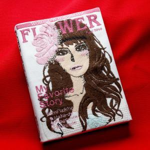刺繍ブックカバーA6サイズ(FLOWER)|shishuatelier