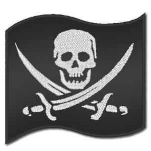 刺繍(刺しゅう)アイロン ワッペン(海賊風 スカル - ドクロ - フラッグ/9cm×8.5cm)|shishuatelier