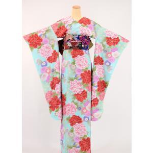 振袖 3点セット 成人式 簡単 着付け不要 着崩れしない 仕立て上がり 衿なし 四季彩牡丹 水色|shitateyajingoro