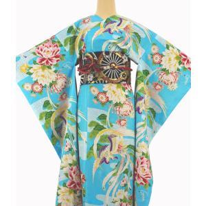振袖 3点セット 成人式 簡単 着付け不要 着崩れしない 仕立て上がり 衿なし 鳳凰菊 水色|shitateyajingoro