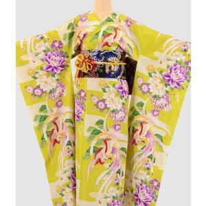 振袖 3点セット 成人式 簡単 着付け不要 着崩れしない 仕立て上がり 衿なし 鳳凰菊 黄緑|shitateyajingoro