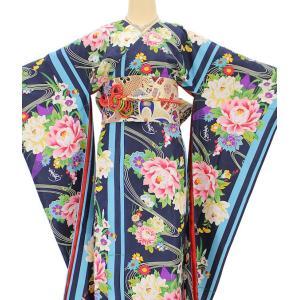 振袖 3点セット 成人式 簡単 着付け不要 着崩れしない 仕立て上がり 衿なし 流水牡丹 紺|shitateyajingoro