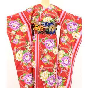 振袖 3点セット 成人式 簡単 着付け不要 着崩れしない 仕立て上がり 衿なし 流水牡丹 赤|shitateyajingoro