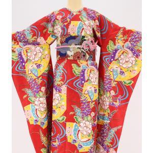 振袖 3点セット 成人式 簡単 着付け不要 着崩れしない 仕立て上がり 衿なし 藤飛蝶 赤|shitateyajingoro