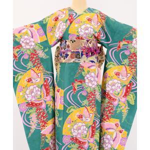 振袖 3点セット 成人式 簡単 着付け不要 着崩れしない 仕立て上がり 衿なし 藤飛蝶 緑|shitateyajingoro
