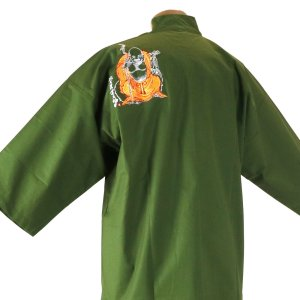 作務衣 布袋様刺繍入り 緑 shitateyajingoro