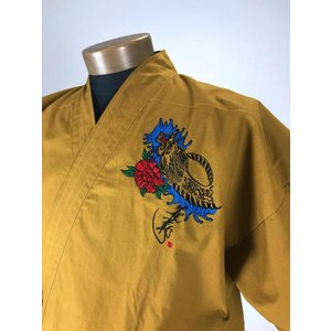 作務衣 龍刺繍入り 金茶 shitateyajingoro