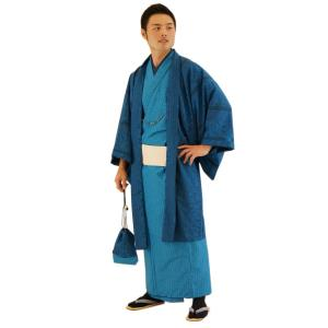 着物 6点セット 簡単 着付け不要 着崩れしない 紳士 アンサンブル 仕立て上がり 藍 shitateyajingoro
