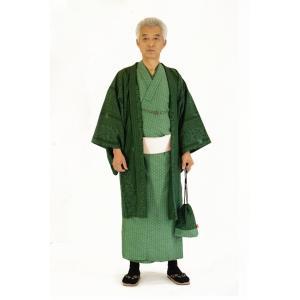 着物 6点セット 簡単 着付け不要 着崩れしない 紳士 アンサンブル 仕立て上がり 深緑 shitateyajingoro