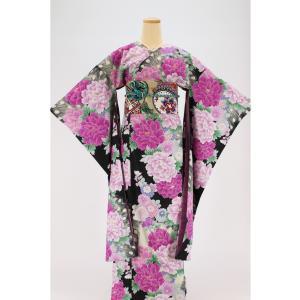 振袖 3点セット 成人式 簡単 着付け不要 着崩れしない 仕立て上がり 衿なし 箔押し 舞牡丹 紫|shitateyajingoro