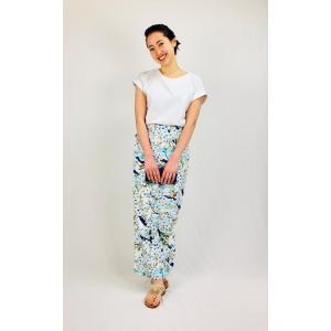 今だけ激安!和柄 巻きスカート ロングタイプ 花柄 和風 ラップスカート さくらこ 水色 shitateyajingoro