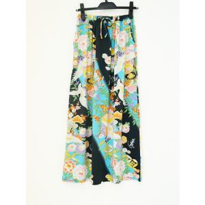 和柄 セットアップ スカート ボトムス レディース 花柄 和風 ストレッチ素材 ワンピース風 濃グレー 水色 shitateyajingoro
