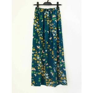 和柄 セットアップ スカート ボトムス レディース 花柄 和風 ストレッチ素材 ワンピース風 緑 shitateyajingoro