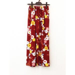 和柄 セットアップ スカート ボトムス レディース 花柄 和風 ストレッチ素材 ワンピース風 エンジ shitateyajingoro