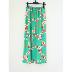 和柄 セットアップ スカート ボトムス レディース 花柄 和風 ストレッチ素材 ワンピース風 薄緑 shitateyajingoro