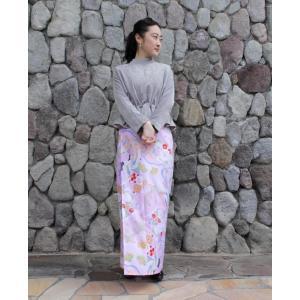 今だけ激安!和柄 巻きスカート ロングタイプ 花柄 和風 ラップスカート 祝鶴 薄桃色 shitateyajingoro