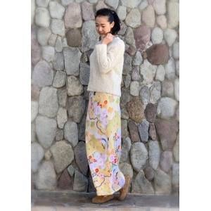 今だけ激安!和柄 巻きスカート ロングタイプ 花柄 和風 ラップスカート 祝鶴 橙色 shitateyajingoro