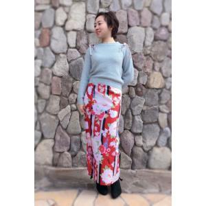 今だけ激安!和柄 巻きスカート ロングタイプ 花柄 和風 ラップスカート 彩ぼたん 赤色 shitateyajingoro